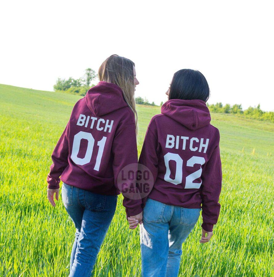 Bitch 01 Bitch 02 draugių džemperiai