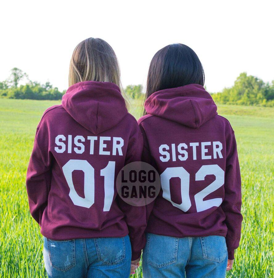Sister 01 Sister 02 draugių džemperiai